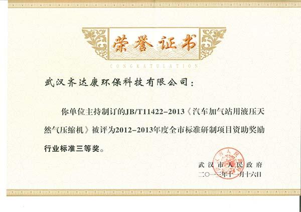 齐达康-牵头起草制定行业标准获得项目资助奖励
